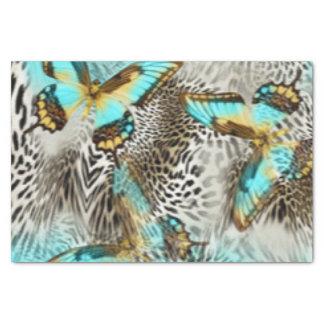 Leopard Print & Teal Butterflies Tissue Paper