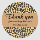 Leopard Print Thank You Classic Round Sticker