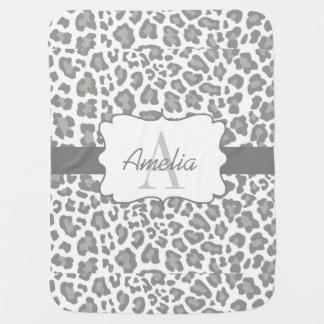 Leopard Print White and Gray Swaddle Blanket Pramblanket