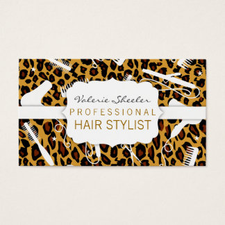 Leopard Print & White Hair Salon Tools