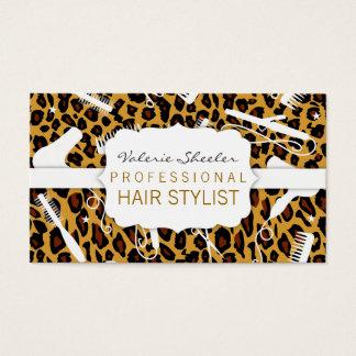 Leopard Print & White Hair Salon Tools Business Card