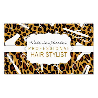 Leopard Print & White Hair Salon Tools Pack Of Standard Business Cards