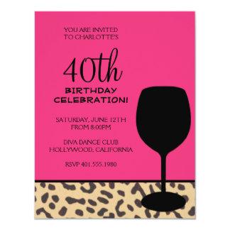 leopard print wine birthday 11 cm x 14 cm invitation card