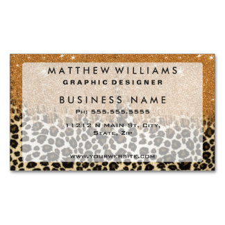 Leopard Print with Gold Faux Glitter Brush Stroke Magnetic Business Cards