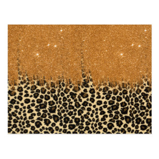 Leopard Print with Gold Faux Glitter Brush Stroke Postcard