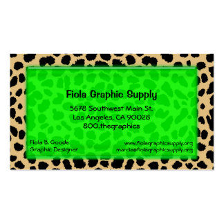 Leopard Print With Lime Green Glass Rectangle Business Card Templates