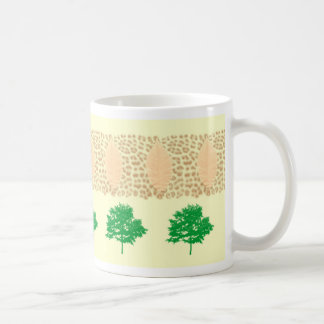 leopard print with trees and leaves mug