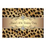 "Leopard Print Womans 40th Birthday Party 5"" X 7"" Invitation Card"