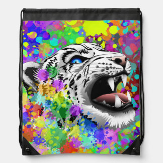 Leopard Psychedelic Paint Splats Backpacks