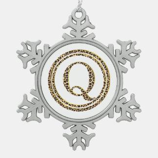 Leopard Q Snowflake Pewter Christmas Ornament
