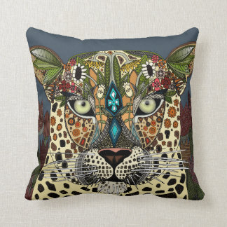 leopard queen blue cushion
