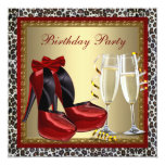 Leopard Red High Heel Shoes Birthday Party 13 Cm X 13 Cm Square Invitation Card
