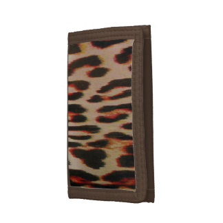 Leopard Red Tint Trifold Wallets