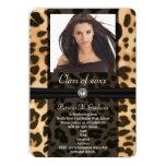 Leopard Ribbon Photo Graduation Custom Invitations