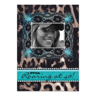 Leopard Roaring 40 Birthday Party Blue Jewels 13 Cm X 18 Cm Invitation Card