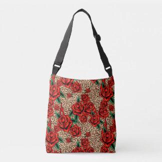 leopard roses crossbody bag