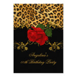 Leopard Roses Red Black Gold Birthday Party 2 13 Cm X 18 Cm Invitation Card