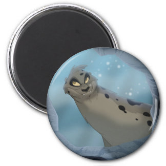 Leopard Seal Hunting 6 Cm Round Magnet