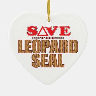 Leopard Seal Save Ceramic Heart Decoration