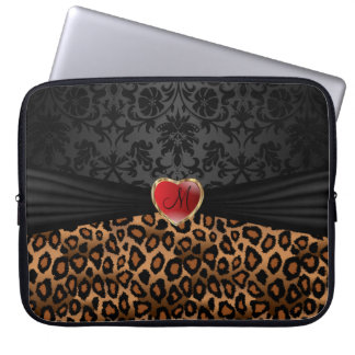 Leopard Skin Animal Print with a Red Heart Laptop Sleeve