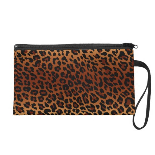 Leopard Skin Bagettes Bag Wristlet Clutch