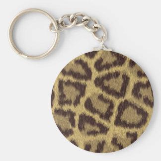 Leopard Skin Basic Round Button Key Ring
