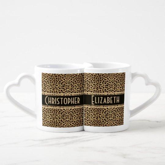Leopard Skin Couple Personalise Coffee Mug Set