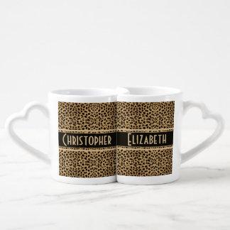 Leopard Skin Couple Personalize Coffee Mug Set