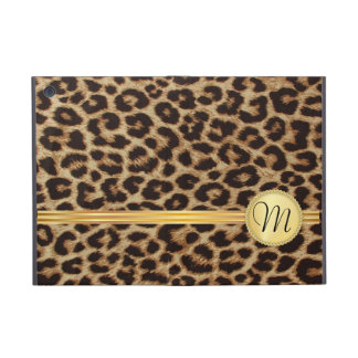 Leopard Skin Girly Gold Monogram iPad Mini Cover