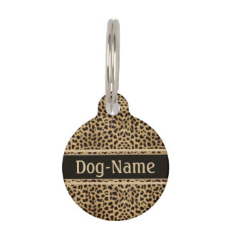 Leopard Skin Pattern Personalize Pet Name Tag