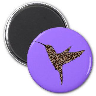 Leopard Skin Spots Hummingbird 6 Cm Round Magnet