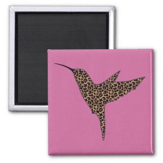 Leopard Skin Spots Hummingbird Square Magnet