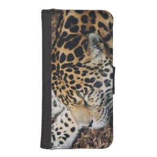 leopard sleeping phone wallet case