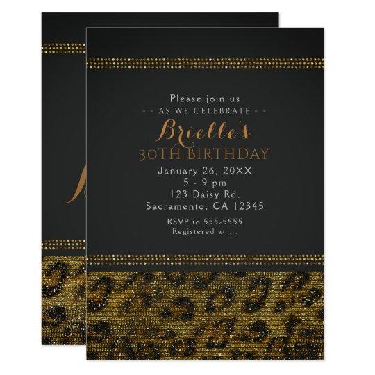 Leopard Sparkle Sequins Glam Chic Party Invitation