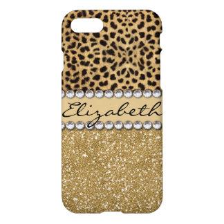 Leopard Spot Gold Glitter Rhinestone iPhone 7 Case