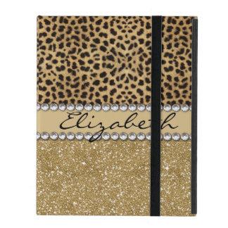 Leopard Spot Gold Glitter Rhinestone PHOTO PRINT Cases For iPad