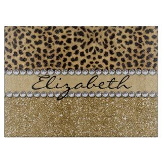 Leopard Spot Gold Glitter Rhinestone PHOTO PRINT Cutting Board