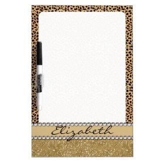 Leopard Spot Gold Glitter Rhinestone PHOTO PRINT Dry Erase Board