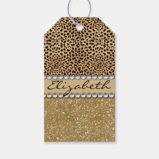 Leopard Spot Gold Glitter Rhinestone PHOTO PRINT Gift Tags
