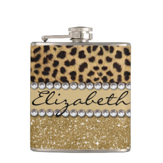 Leopard Spot Gold Glitter Rhinestone PHOTO PRINT Hip Flask