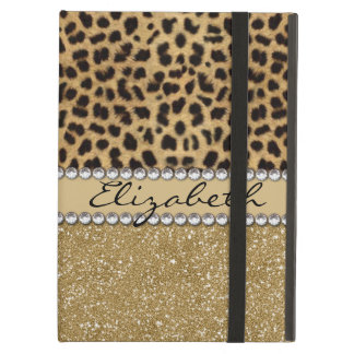 Leopard Spot Gold Glitter Rhinestone PHOTO PRINT iPad Air Cases