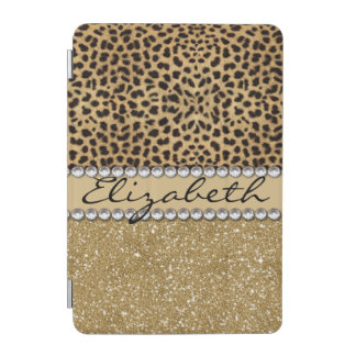 Leopard Spot Gold Glitter Rhinestone PHOTO PRINT iPad Mini Cover