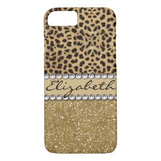 Leopard Spot Gold Glitter Rhinestone PHOTO PRINT iPhone 7 Case