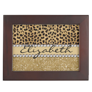 Leopard Spot Gold Glitter Rhinestone PHOTO PRINT Keepsake Box