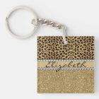 Leopard Spot Gold Glitter Rhinestone PHOTO PRINT Key Ring