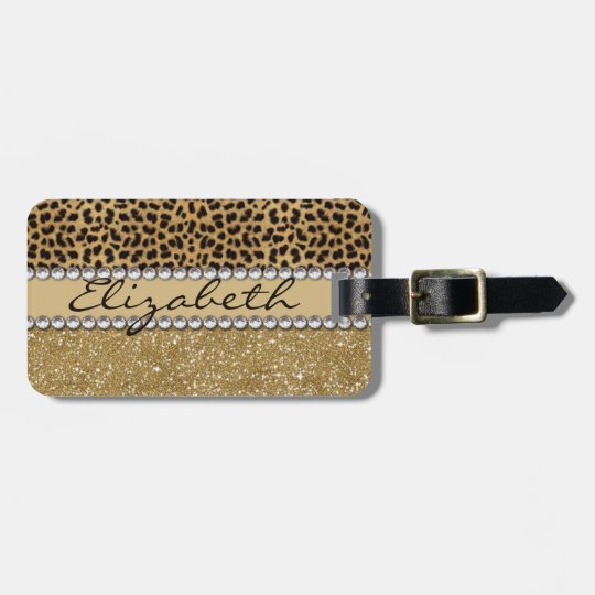 Leopard Spot Gold Glitter Rhinestone PHOTO PRINT Luggage
