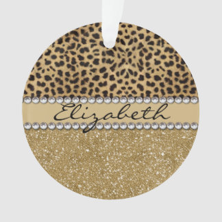Leopard Spot Gold Glitter Rhinestone PHOTO PRINT Ornament
