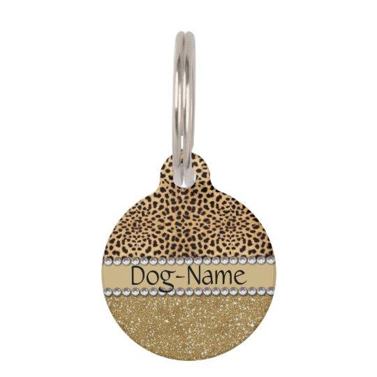 Leopard Spot Gold Glitter Rhinestone PHOTO PRINT Pet
