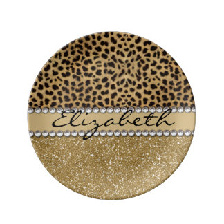 Leopard Spot Gold Glitter Rhinestone PHOTO PRINT Plate