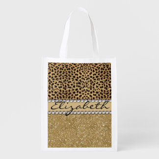 Leopard Spot Gold Glitter Rhinestone PHOTO PRINT Reusable Grocery Bag